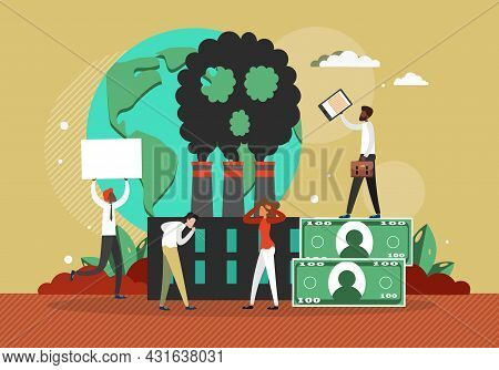 People Coughing Because Of Industrial Factory Smog Vector Illustration. Climate Change Air Pollution