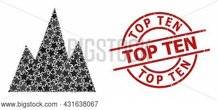 Mountains Star Mosaic And Grunge Top Ten Stamp. Red Stamp With Rubber Style And Top Ten Text Inside