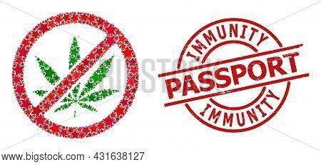 Forbid Cannabis Star Mosaic And Grunge Immunity Passport Seal Stamp. Red Watermark With Grunge Style