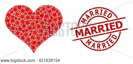 Love Heart Star Mosaic And Grunge Married Seal Stamp. Red Imprint With Distress Texture And Married