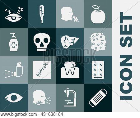 Set Medical Protective Mask, Pills In Blister Pack, Psoriasis Or Eczema Rash, Vomiting Man, Skull, L
