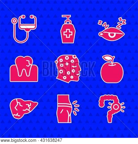 Set Psoriasis Or Eczema Rash, Abdominal Bloating, Gut Constipation, Apple, Hepatitis Virus, Tooth Wi