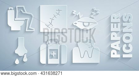 Set First Aid Kit, Insomnia, Runny Nose, Tooth With Caries, Scar Suture And Constipation Icon. Vecto