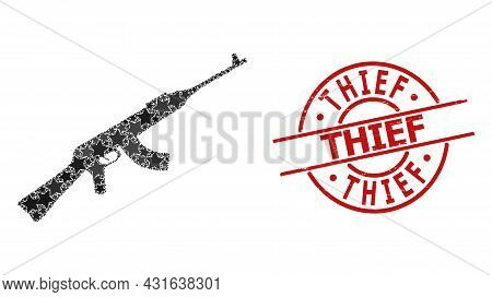 Kalashnikov Gun Star Mosaic And Grunge Thief Seal Stamp. Red Seal With Corroded Surface And Thief Te