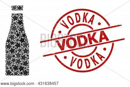 Beer Bottle Star Mosaic And Grunge Vodka Seal Stamp. Red Stamp With Scratched Surface And Vodka Word