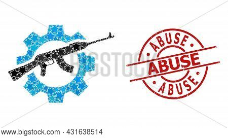 Weapon Industry Star Mosaic And Grunge Abuse Stamp. Red Stamp With Grunge Texture And Abuse Phrase I