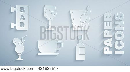 Set Coffee Cup, Cocktail Bloody Mary, Champagne Bottle, Glass Champagne And Street Signboard With Ba
