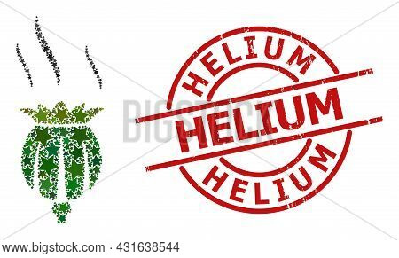 Opium Aroma Star Mosaic And Grunge Helium Seal Stamp. Red Stamp With Corroded Style And Helium Phras