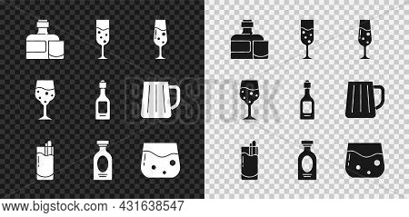 Set Whiskey Bottle And Glass, Glass Of Champagne, Cocktail Bloody Mary, Alcohol Drink Rum, Whiskey,