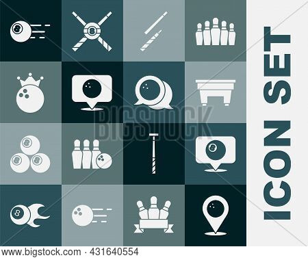 Set Location With Bowling Ball, Billiard, Billiard Table, Cue, Bowling, And Icon. Vector