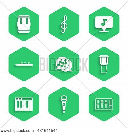 Set Music Note, Tone, Microphone, Sound Mixer Controller, Drum, Synthesizer, And Drum Sticks, And Ic