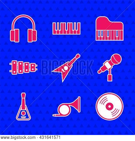 Set Electric Bass Guitar, Trumpet, Vinyl Disk, Microphone, Guitar, Xylophone, Grand Piano And Headph