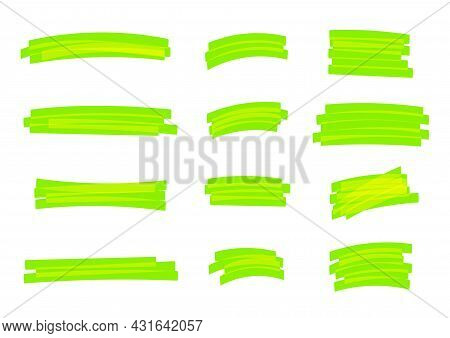 Highlight Stripes Green Bright, Banners Drawn With Markers, Green Highlight Stripe Marker Stroke, Ha
