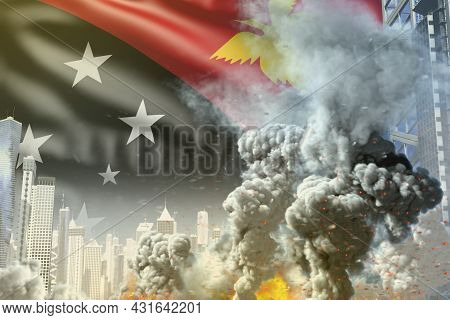 Big Smoke Column With Fire In Abstract City - Concept Of Industrial Catastrophe Or Terroristic Act O