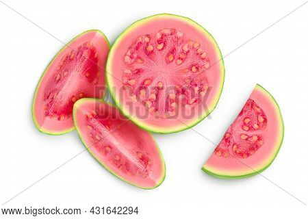 Guava Fruit Slices Isolated On White Background With Clipping Path And Full Depth Of Field. Top View