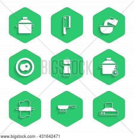 Set Pepper, Frying Pan, Kitchen Extractor Fan, Cooking Pot, Rolling Pin On Dough, Scrambled Eggs, Sa