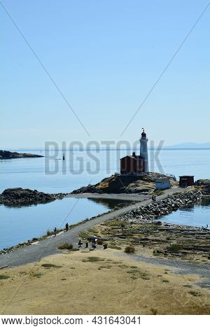 Fisgard Lighthouse At Fort Rodd Hill National Park, Victoria Bc, Canada, August 29th 2021. A Great P