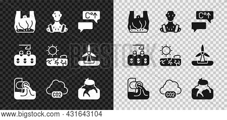 Set Say No To Plastic Bags Poster, High Human Body Temperature, Global Warming, Wastewater, Co2 Emis