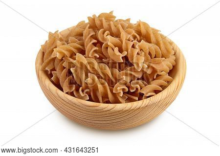 Wolegrain Fusilli Pasta From Durum Wheat In Wooden Bowl Isolated On White Background With Clipping P