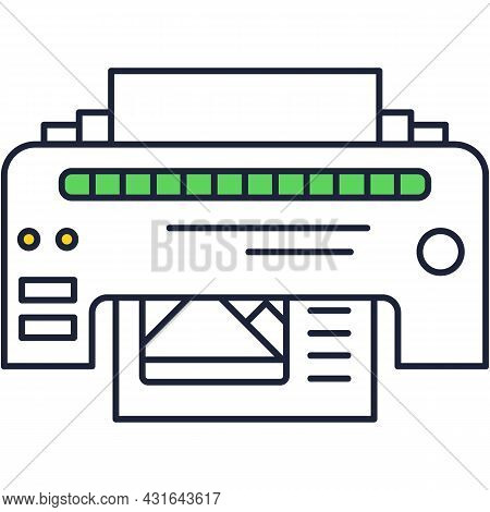 Printer Icon Vector Ink Printout Outline Pictogram