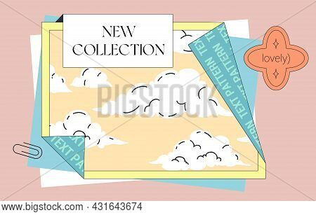 Folded Poster Trendy Design Template. Comic Style Poster Layout With Place For Text, Stickers, And P