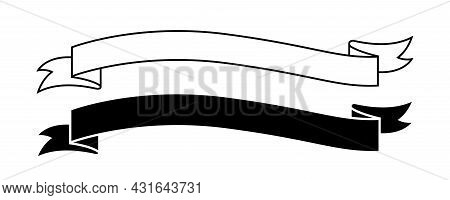 Ribbon Label Black For Decoration Banner, Ribbon Sticker Frame For Tag Label Decorative, Ribbon Badg