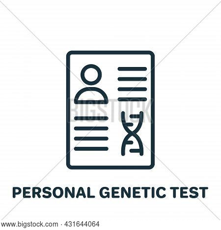 Personal Genetic Test Result Line Icon. Document With Report Dna Analysis Linear Pictogram. Personal