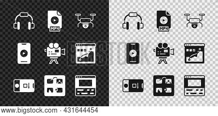 Set Headphones, Mp4 File Document, Drone Flying, Photo And Video Shooting, Storyboard, Video Recorde