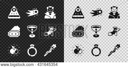 Set Masons, Fireball, Vampire, Poison Apple, Magic Stone Ring With Gem, Staff, Ticket And Medieval G
