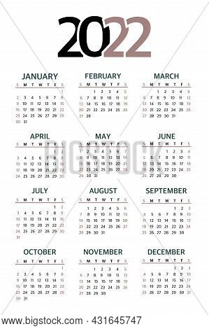 Calendar 2022 Is Fashionable And Modern. On A White Background. A Set Of Desktop Calendars For 2022,