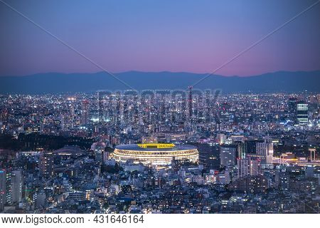 Tokyo, Japan - November 30, 2019 : Overhead Aerial View Of The New National Stadium With Tokyo's Sky