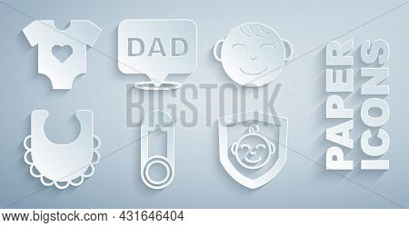 Set Baby Clothes Pin, Little Boy Head, Bib, On Shield, Speech Bubble Dad And Icon. Vector