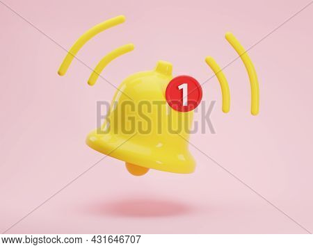 3d Render Icon Of Glossy Yellow Notification Bell With One New Message Isolated On Pink Background.