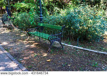 Cismigiu Park In Bucharest, Romania, 2021 View Of Cismigiu Garden, Public Park With Beautiful Paths.