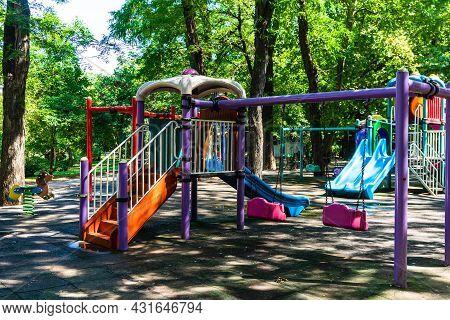 Outdoor Playground Fun For Children In Cismigiu -bucharest, Romania, 2021
