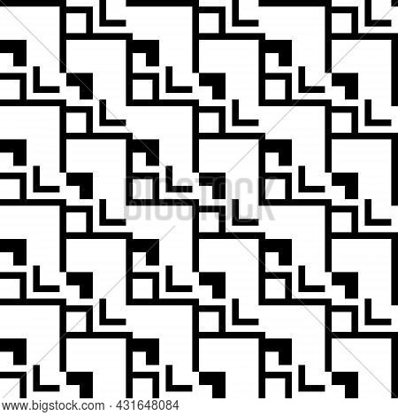 Line Pattern, Square, Seamless Zigzag. Abstract Background Geometric Shapes, White And Black Tones.