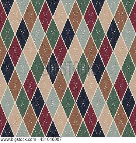 Retro Beige Color Tartan Plaid. Argyle Seamless Pattern Background. Texture Design For Apparel, Text