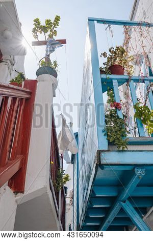 Low Angle View Of Colourful Balconies On Traditional Houses In Hora (mykonos Town), Greece, Selectiv