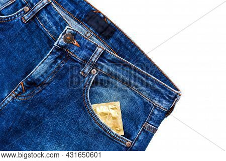 Jeans With Condom Packaging In Pocket. Mens Blue Jeans With Condom Packaging In Front Side Pocket On