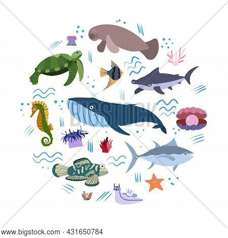 Design Template With Sea Animal In Circle For Kid Print. Round Composition Of Marine Animals, Turtle