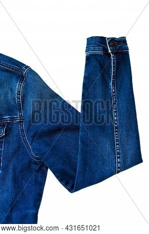 Sleeve Of A Denim Jacket In The Shape Of A Raised Hand. Denim Jacket Sleeve With Hand Up Gesture.