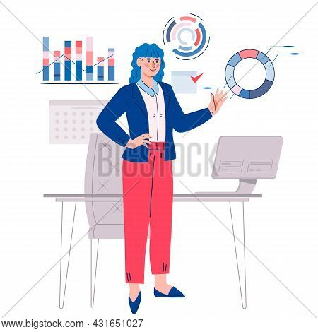 Successful Business Woman At Her Workplace, Flat Cartoon Vector Illustration Isolated On White Backg
