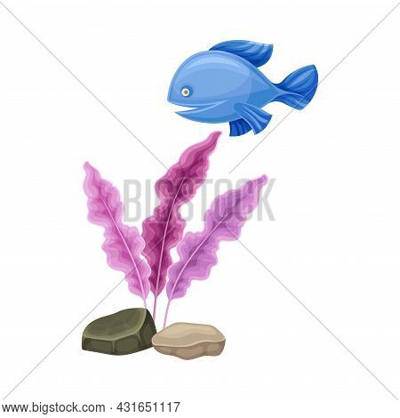 Sea Marine Coral Deep On Ocean Bottom And Floating Fish Vector Composition