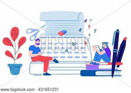 Copywriting And Storytelling Concept. Copywriters Working For Social Media Promotion And Blogs, Flat