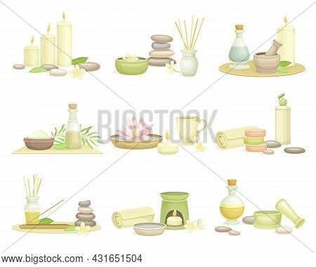 Spa And Aromatherapy With Burning Candle, Fragrant Stick And Essential Oil Vector Set