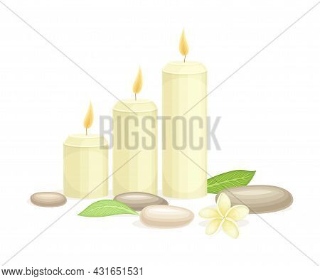 Spa And Aromatherapy With Burning Candle And Stone Vector Composition