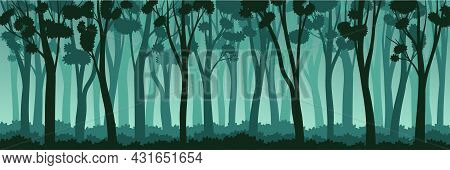 Tree Silhouette With Tall Trunk And Branched Top As Misty Forest Horizontal Backdrop Vector Illustra
