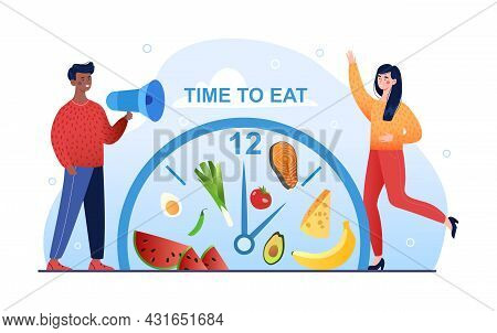 Dark Skin Man Standing With Megaphone Speaking Time To Eat To Young Woman. When To Eat, Intermittent