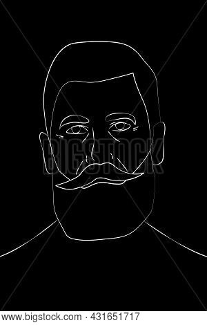 Portrait Of An Old Man With A Beard And Mustache In The Style Of Line Art On A Black Background. Gra