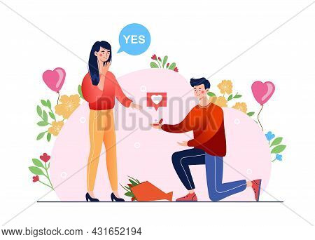 An Offer Of Marriage. A Kneeling Man Make A Proposal Of Marriage To His Darling Be Loved One. Flat I
